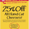 Thumbnail image for Whole Foods- 25% Off Hand Cut Cheeses 10/25
