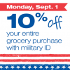 Thumbnail image for Farm Fresh Supermarkets: Military Extra 10% Off Labor Day 2014