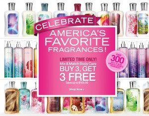 Post image for Bath and Body Works: Buy 3 Get 3 Free Plus Possible Free Shipping