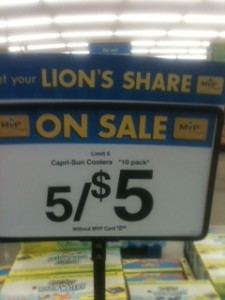 Post image for Food Lion: 10 ct Capri Sun $1.00 (No Coupon Needed)