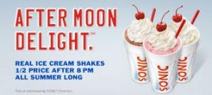 Post image for Sonic: Half Price Milkshakes All Summer Long After 8 pm