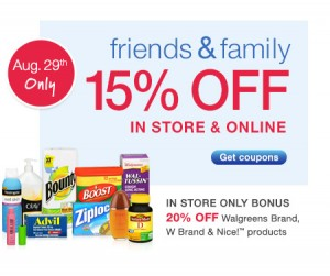 Post image for Walgreens: 15% Off In Store Or On-Line Purchase