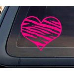 Zebra Print Heart HOT PINK Car Decal