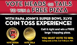 Post image for Vote Heads or Tails For A FREE Papa Johns Pizza