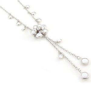Post image for White Flower Pendant Camellia Rhinestone Tassels Necklace $3.49