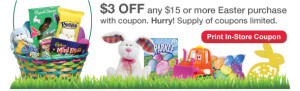 Post image for CVS: $3 off of $15 In Store Easter Candy Purchase