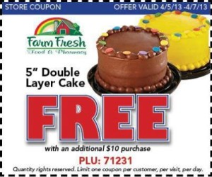 Post image for Farm Fresh: FREE Bakery 5″ Double Layer Cake With $10 Purchase