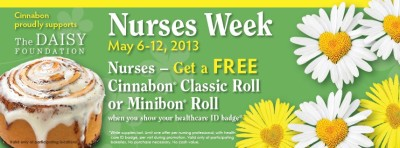 Post image for Nurses Week: Cinnabon Free Classic Roll or Minibon Roll (5/6-5/12)