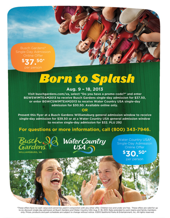 Locals Busch GardensWater Country USA Swim Team Promotion