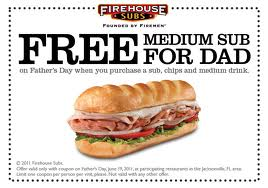 Post image for Firehouse Sub: Free Medium Sub for Dad on Father's Day