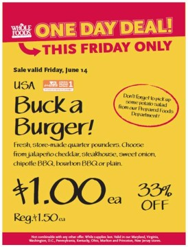 Post image for Mid-Atlantic Whole Foods Stores: Buck A Burger Sale 6/14