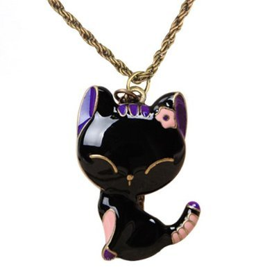 Post image for Cute Purple and Black Cat Necklace $.99 Shipped