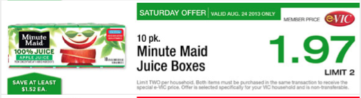Post image for Harris Teeter: Minute Maid Juice Boxes $.97 (Saturday Event)