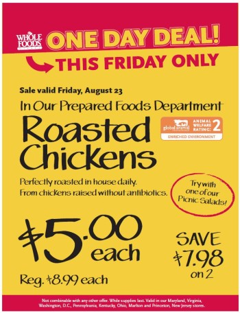 Post image for Whole Foods: $5 Whole Roasted Chicken (8/23 Only)
