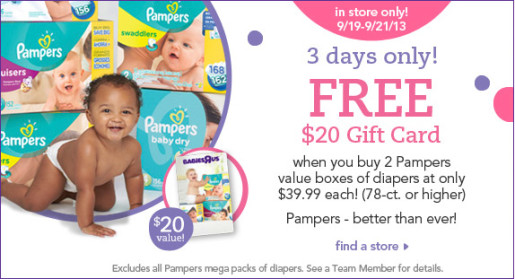 Post image for Babies R Us: Get a $20 Gift Card When you Buy 2 Pampers Value Boxes