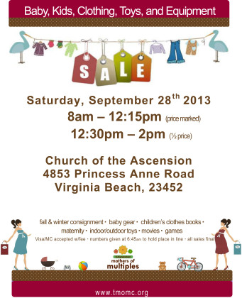 Post image for Locals: Mothers of Multiples Consignment Sale 2013
