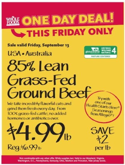 Post image for Whole Foods Mid-Atlantic: 9/13 85% Lean Grass-Fed Ground Beef $4.99 lb