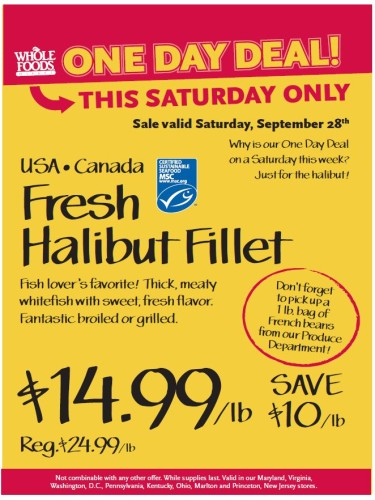 Post image for Whole Foods 9/28: Fresh Halibut Fillet $14.99 lb