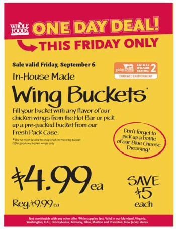 Post image for Whole Foods: Chicken Wing Buckets $4.99 Each
