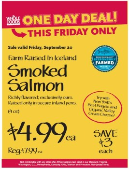 Post image for Mid-Atlantic Whole Foods: 9/20 Icelandic Smoked Salmon $4.99 Each