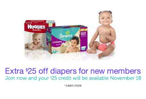Post image for ***HOT*** New Amazon Mom Members Get $25 in FREE Diapers