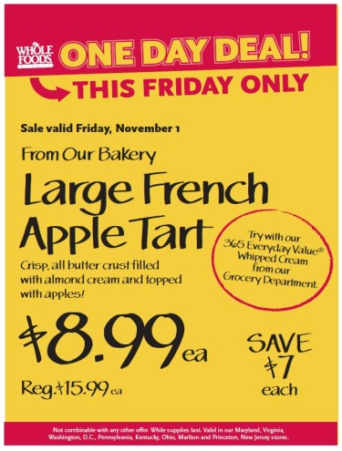 Post image for Whole Foods: Large French Apple Tart $8.99 11/1 Only
