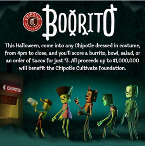 Post image for Chipotle: Burrito, Bowl, Salad, or Tacos for $3 on Halloween