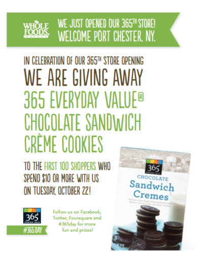 Post image for Whole Foods: Free Chocolate Sandwich Creme Cookies 10/22