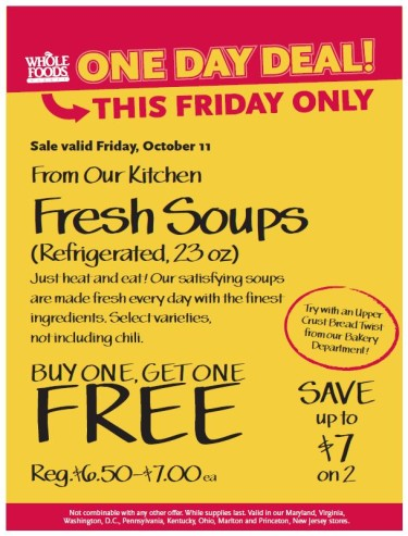 Post image for Whole Foods (Mid-Atlantic Region): Buy One Get One Free Fresh Soups