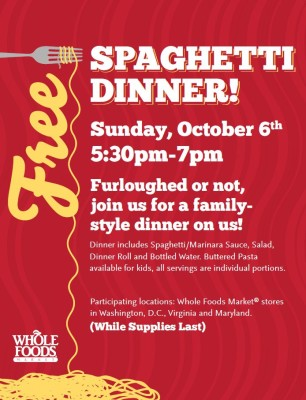 Post image for Whole Foods (DC, MD, VA): Free Spaghetti Dinner 10/6