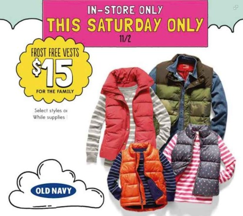 Post image for Today Only: Old Navy Frost Free Vests $15
