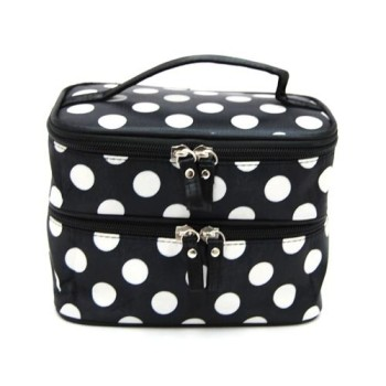 Post image for Amazon-Double Layer Cosmetic Bag Black with White Dot Travel Toiletry Cosmetic Makeup Bag $5.45 Shipped