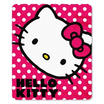 "Post image for Hello Kitty Polka Dot Fleece Throw Blanket 50"" x 60""-$9.75"