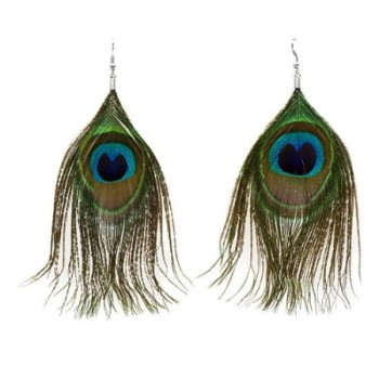 Post image for Amazon-One Pair Natural Feather Peacock Earrings Only $1.06 Shipped
