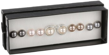 Post image for Faux Pearl Silver-tone 5-Pair Earrings Set-$18