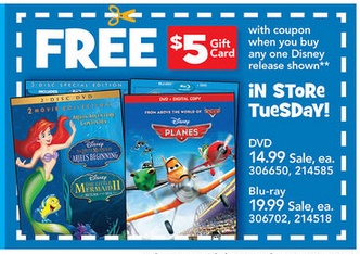 Post image for Toys R Us: Disney Planes BluRay $12.99 + $5 Gift Card