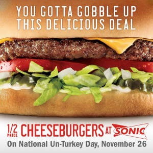Post image for Sonic: Half-Price Cheeseburgers on November 26