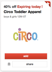 Post image for Target Cartwheel: 40% Off Circo Toddler Clothing (Today Only)