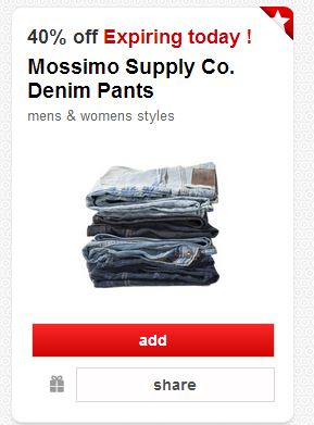 Post image for TODAY ONLY: 40% off Mossimo Denim Pants at Target!