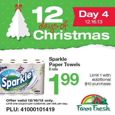 Post image for Farm Fresh: 12 Days of Christmas Day 4- Sparkle Paper Towels (8 Rolls) $1.99