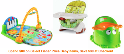 Post image for Amazon: Spend $80 on Select Fisher Price Baby Items and Get $30 Off At Checkout