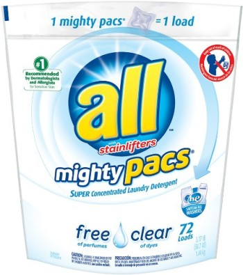 Post image for All Mighty Pacs Free & Clear Laundry Detergent for $0.14 Per Pac Shipped