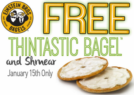 Post image for Einstein Bros Bagels: FREE Thintastic Bagel & Shmear 1/15
