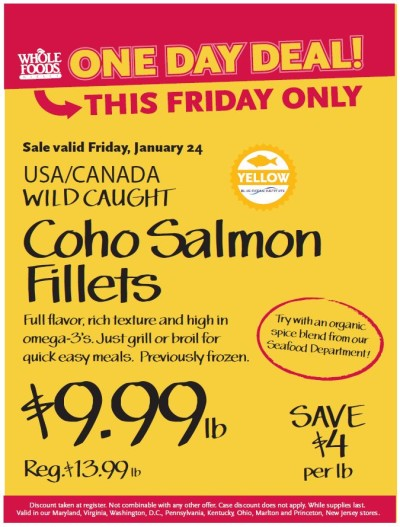 Post image for Whole Foods Mid-Atlantic: Coho Salmon Fillets $9.99 lb