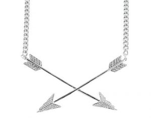 silver double arrow necklace