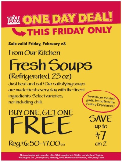 Post image for Whole Foods: Fresh Soups Buy One Get One Free 2/28