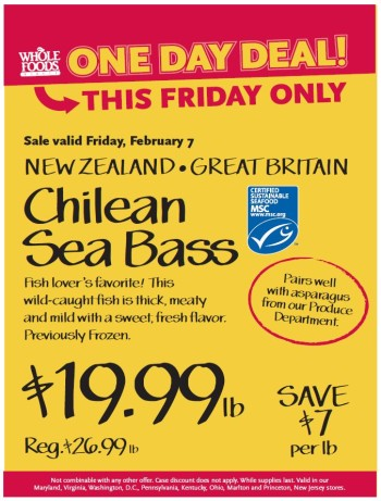 Post image for Whole Foods Mid-Atlantic: Chilean Sea Bass $19.99 lb
