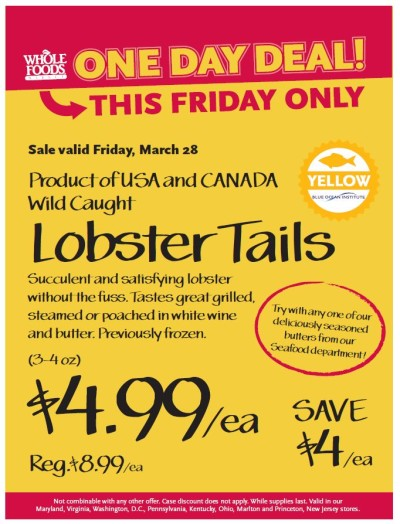 Post image for Whole Foods Mid-Atlantic: $4.99 Lobster Tails