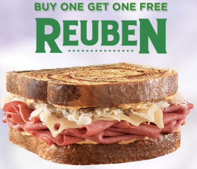 Post image for Buy One Get One Free Reuben at Arby's