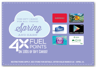 Post image for Kroger: 4X Fuel Points With Gift Card Purchase